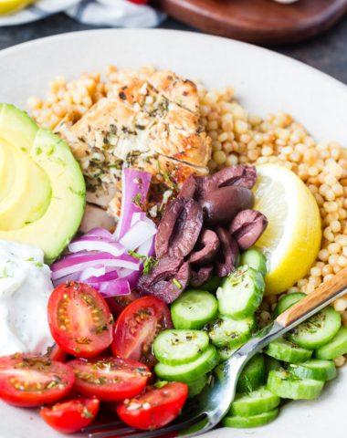 Greek chicken couscous bowl