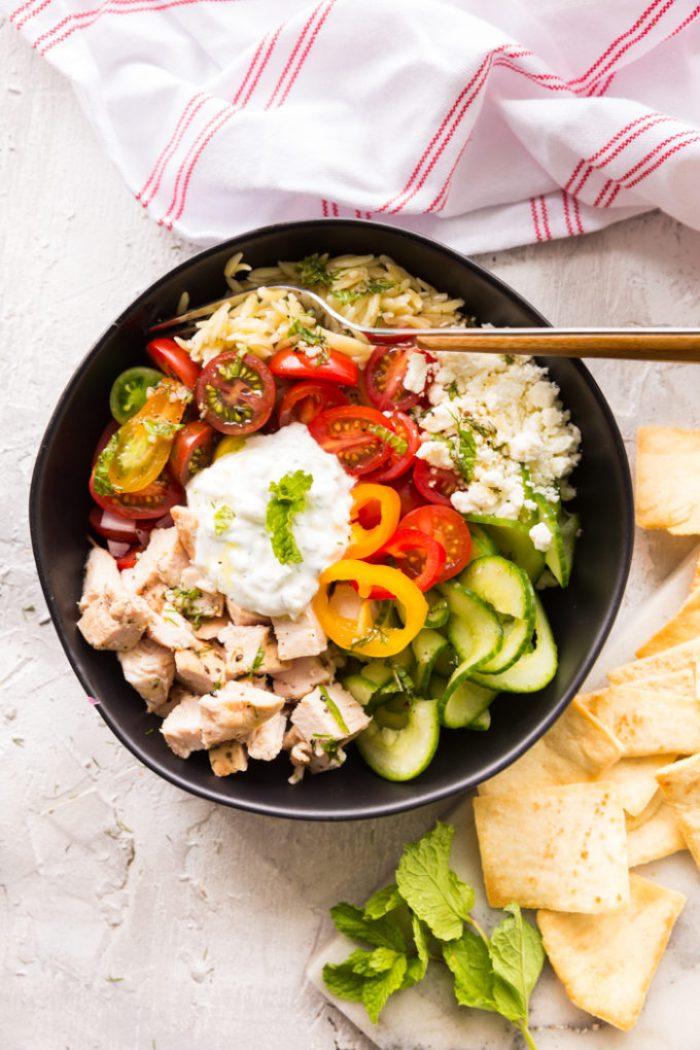 Greek Chicken Orzo Pasta Power bowl.