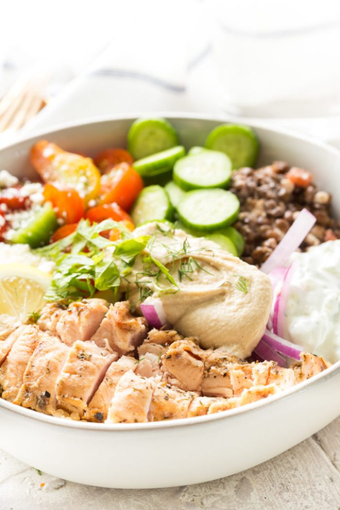 A delicious greek chicken power bowl