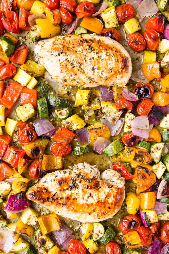 Great sheet pan chicken seasoned with greek seasonings