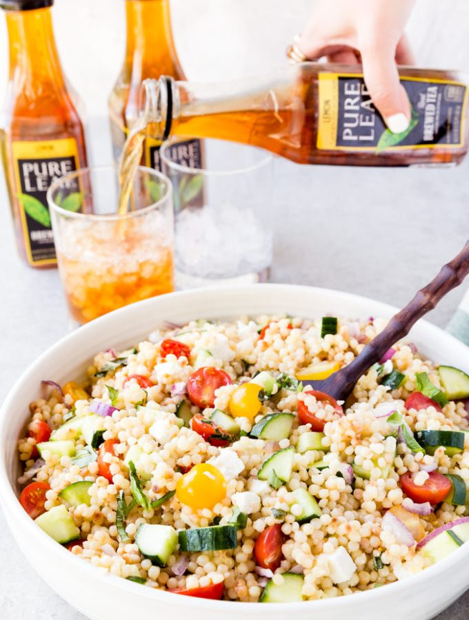 Amazing greek couscous pasta salad loaded with veggies