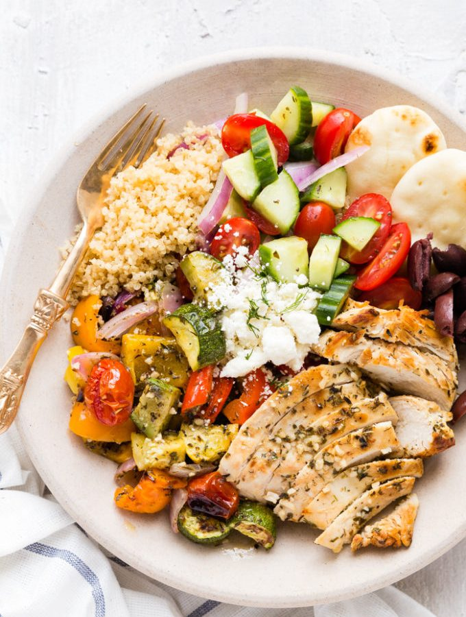 Grilled Greek Chicken Souvlaki Bowl