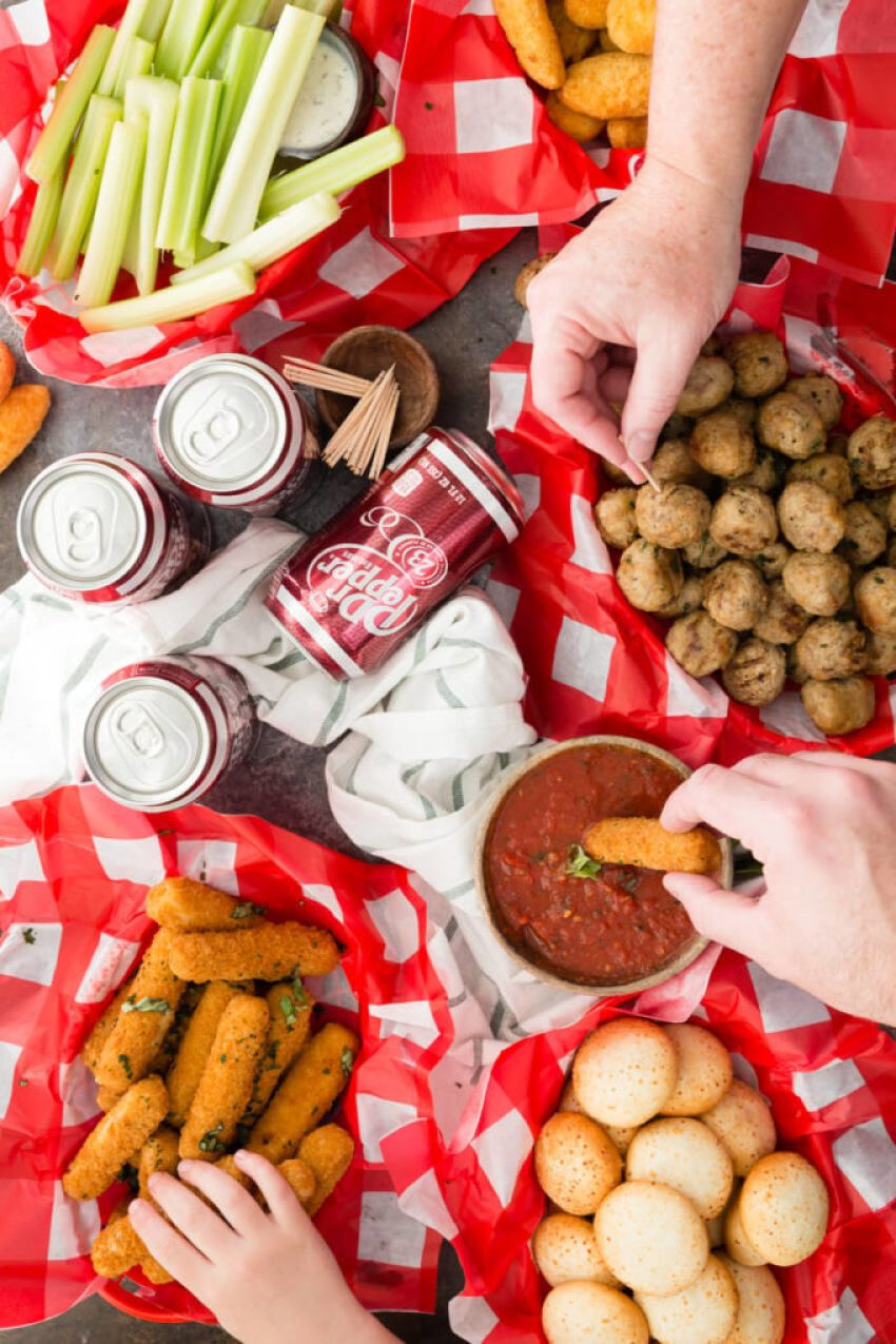 Game day snacking made easy with marinara and dr pepper