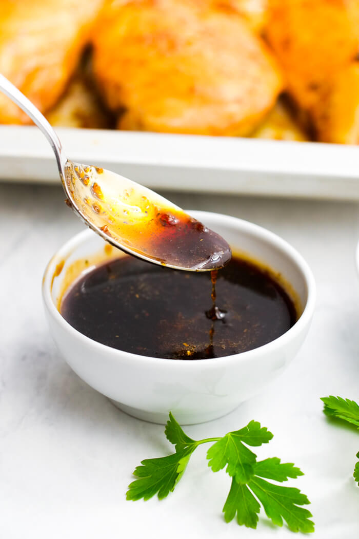 A delicious honey garlic sauce, perfect for sheet pan chicken