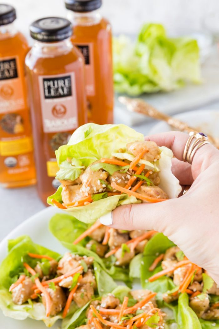 Lemon Chicken Lettuce Wraps are a crunchy, satisfying lunch or brunch item made with Pure Leaf tea.