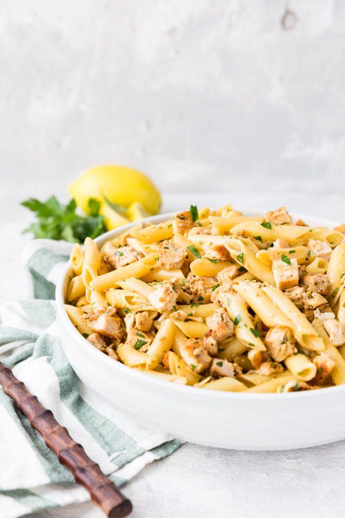 A big bowl of lemon chicken pasta!