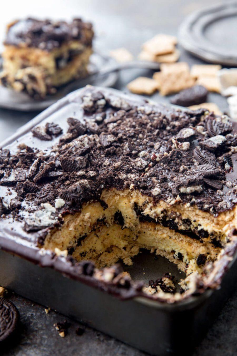 No Bake OREO Cheesecake Ice Box Cake