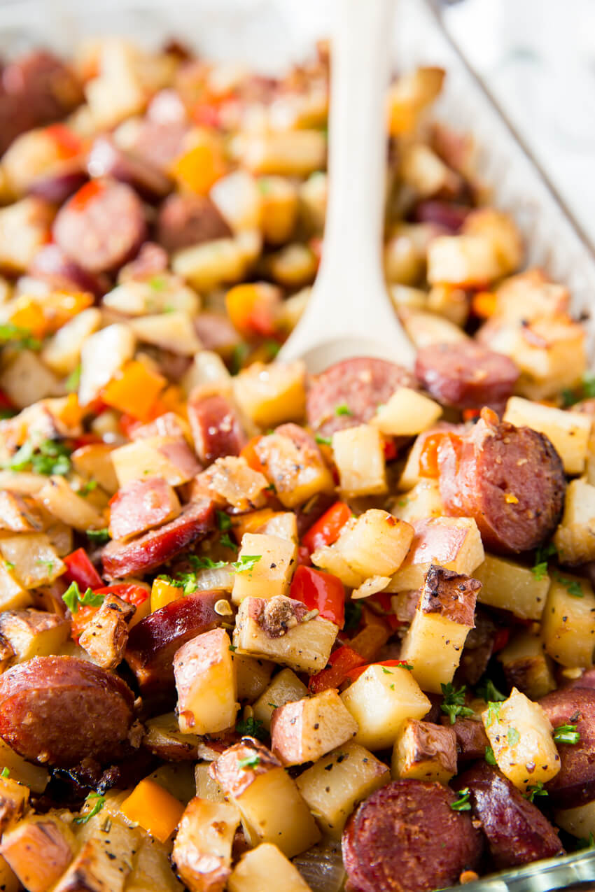 Sausage, Potato, Pepper Recipe: A hearty and filling side dish, full meal, breakfast hash, with plenty of flavor. This Potato, Pepper, and Sausage Bake is perfect for grilling season too!