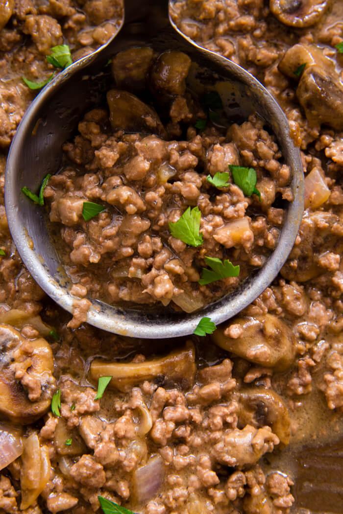 Delicious Salisbury steak inspired hamburger and mushroom gravy
