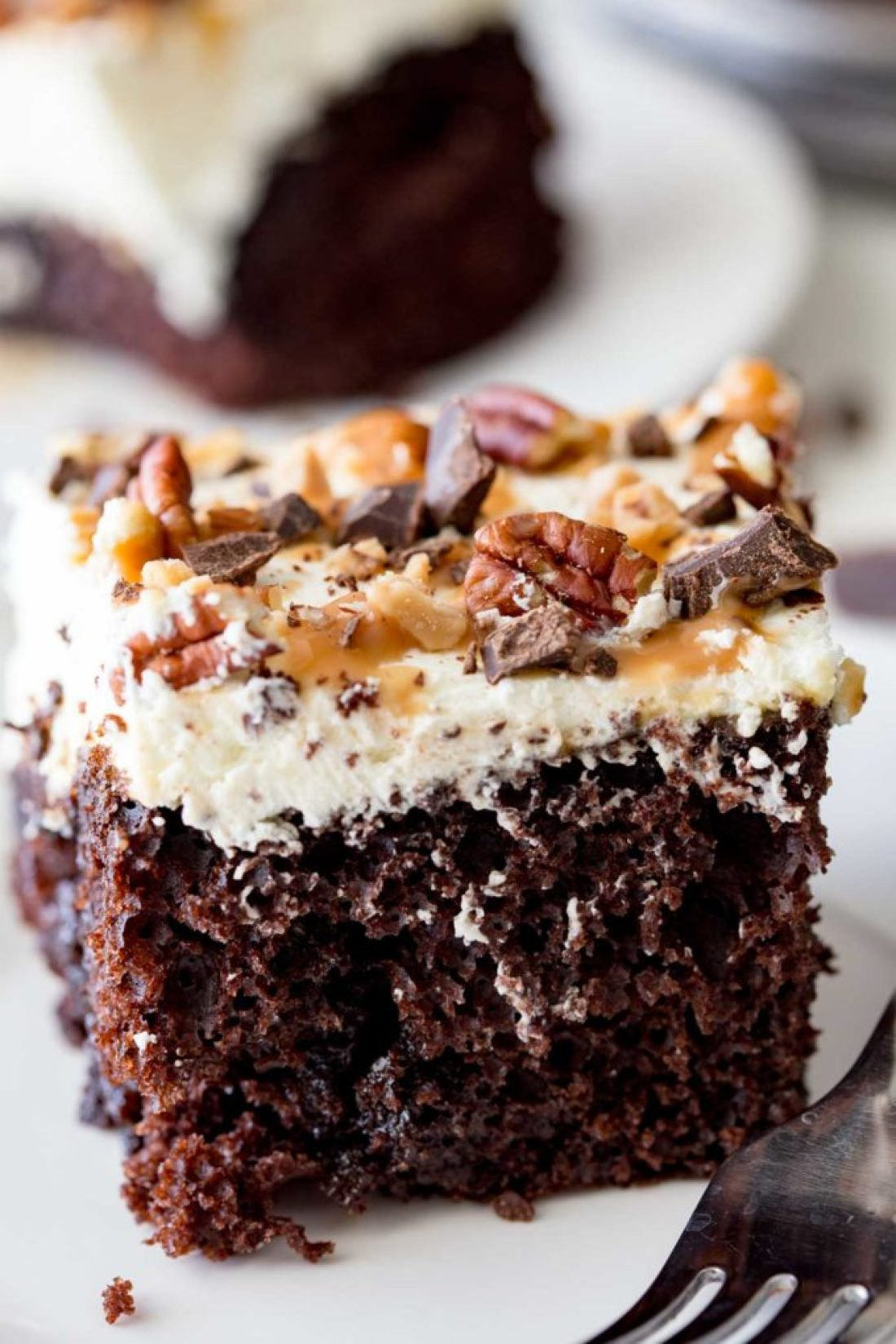 A rich, decadent, delicious, and easy turtle poke cake