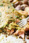 Pesto parmesan baked steelhead with roasted potatoes