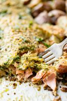 Pesto parmesan baked steelhead with roasted potatoes