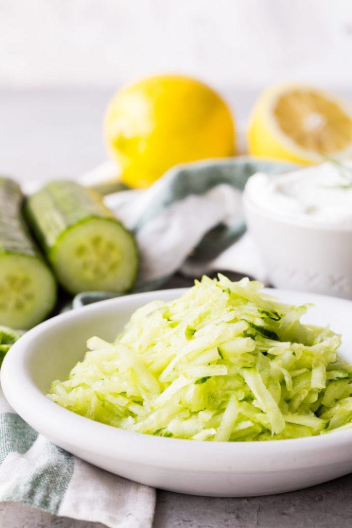A delicious Greek yogurt sauce with cucumber