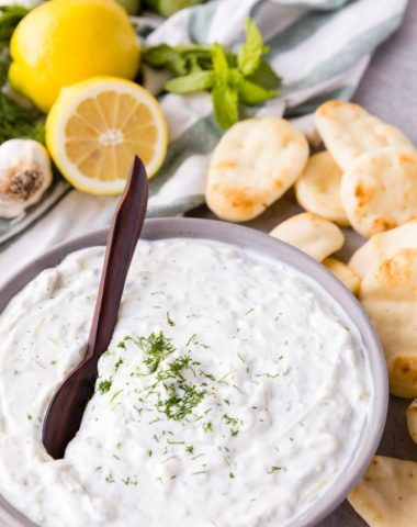 Tzatziki is a greek yogurt sauce with dippers