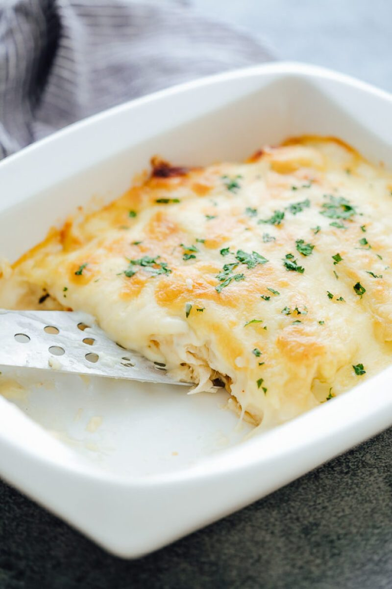 Zesty white chicken enchiladas are creamy and delicious
