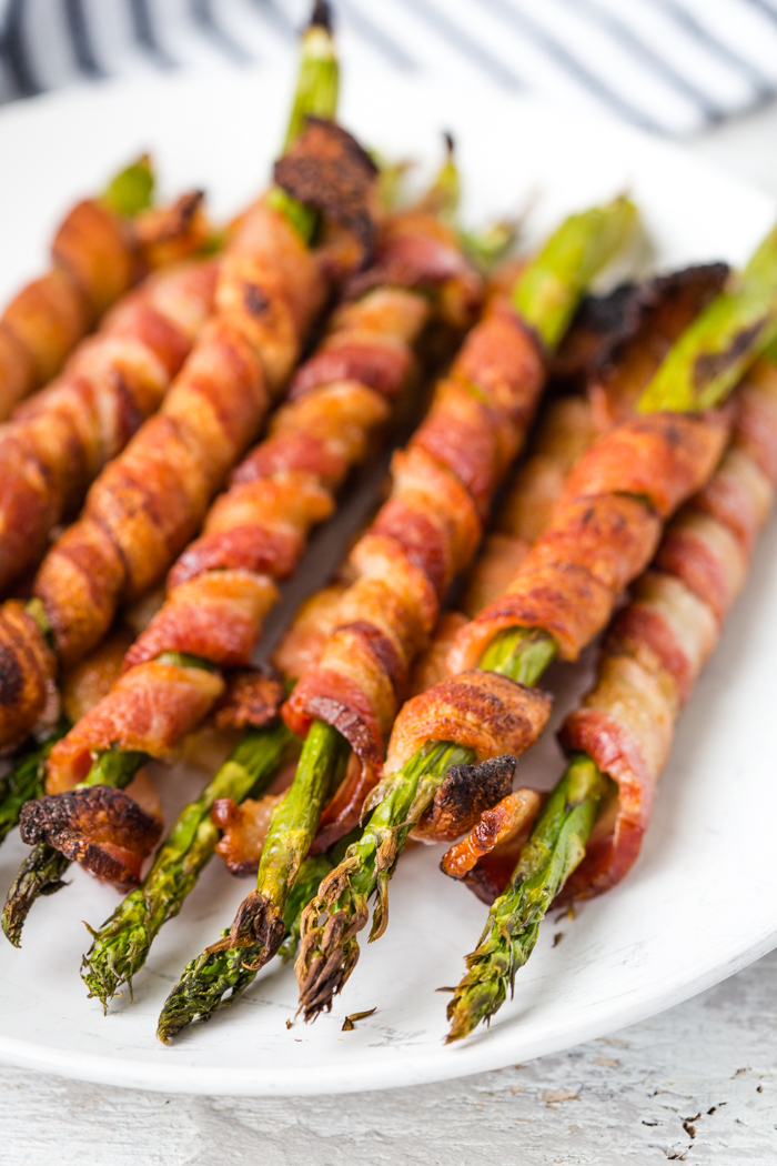 Bacon wrapped asparagus is a low carb snack that is delicious
