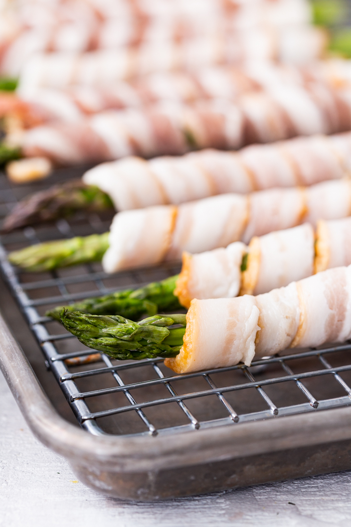 Bacon wrapped asparagus is a great keto snack or side dish.