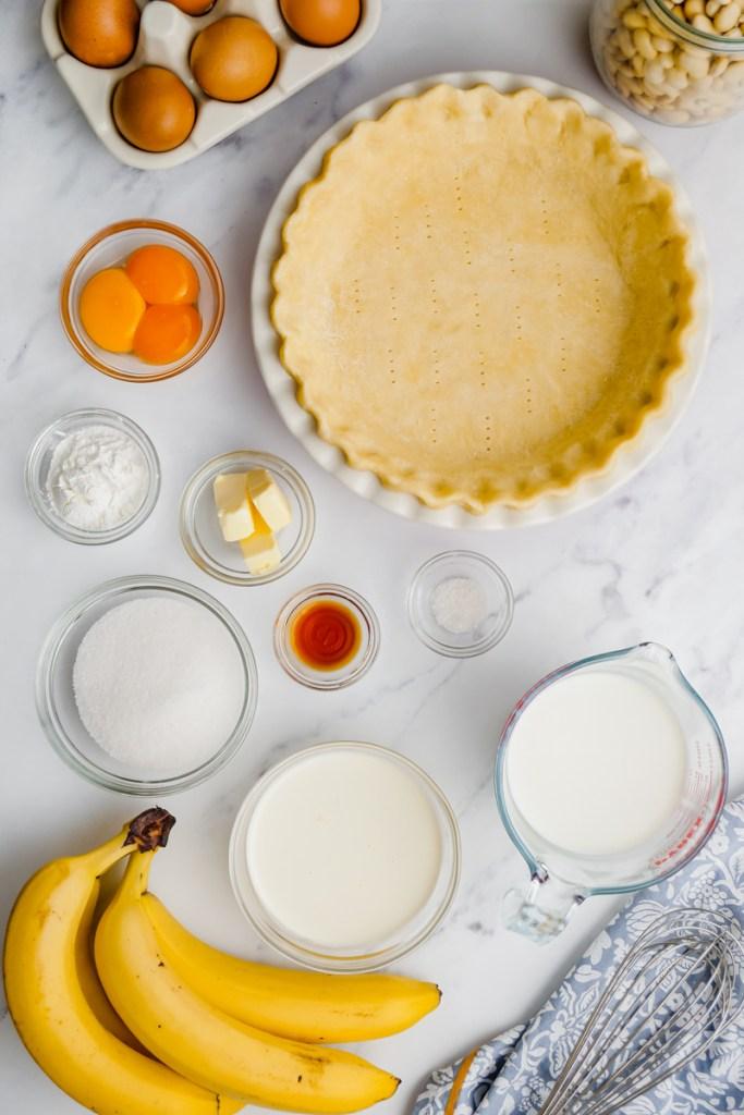 ingredients to make banana creme pie on counter