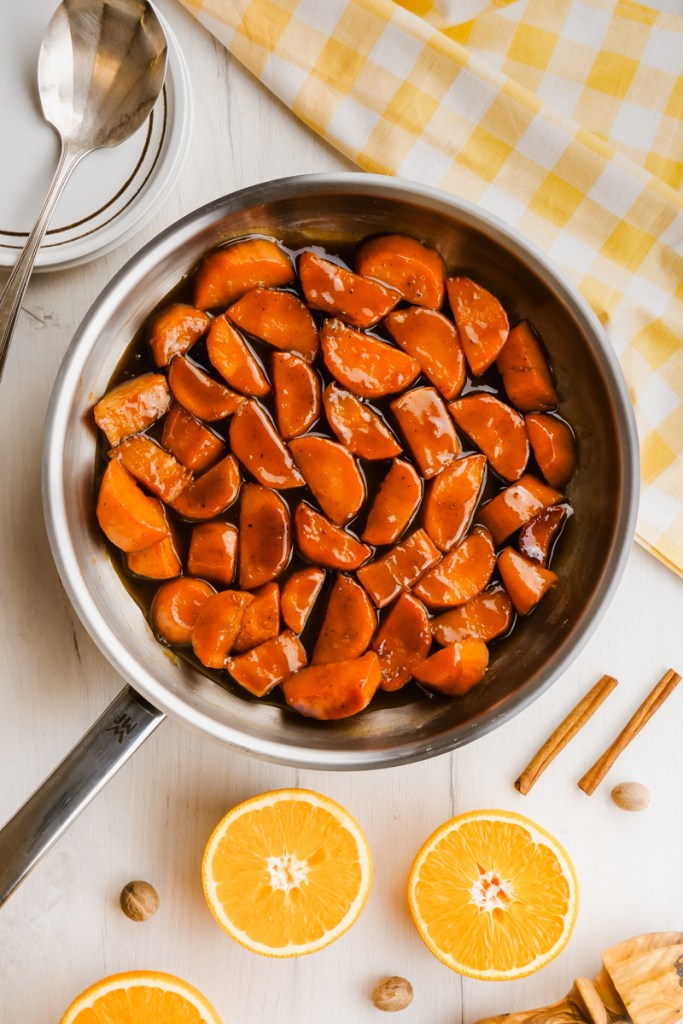 candied yams in pan