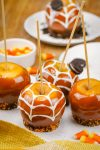 Caramel apples decorated for Halloween