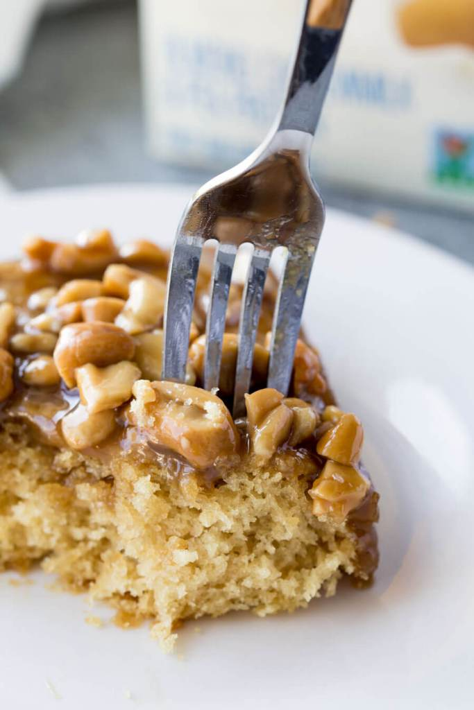 Caramel Cashew Cake is delicious
