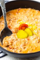A big bowl of cheeseburger soup for a low carb diet
