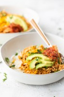 Low carb enchilada bowls, perfect for a keto friendly diet. White bowls