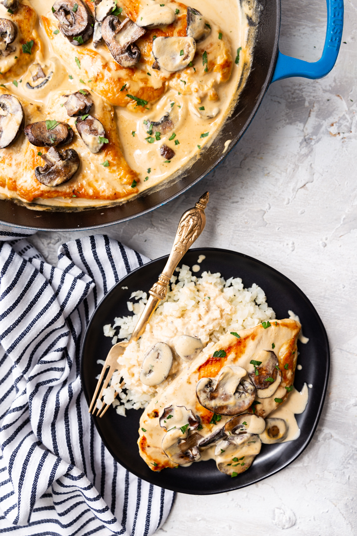 Skillet chicken marsala, a creamy sauce with mushrooms and chicken