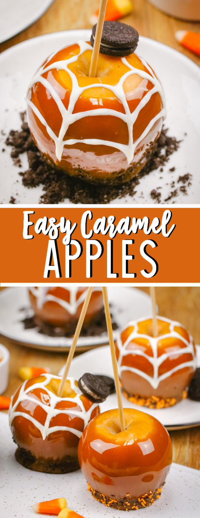 Making easy caramel apples, decorated for Halloween with spider webs