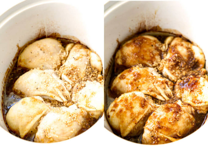 Garlic Lime Chicken in crockpot sitting in marinade while cooking.