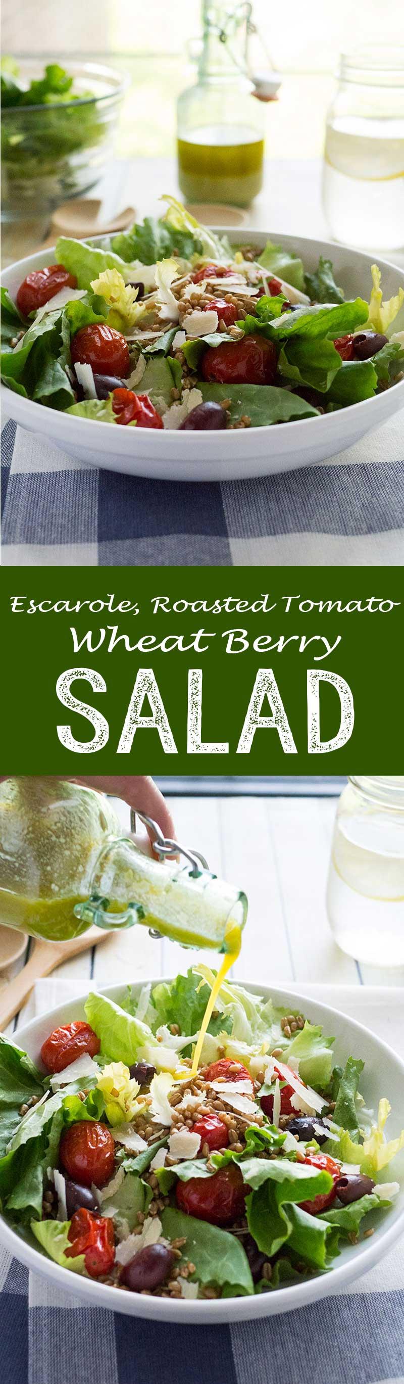 Escarole roasted tomato wheat berry salad