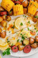 Roasted halibut sheet pan meal