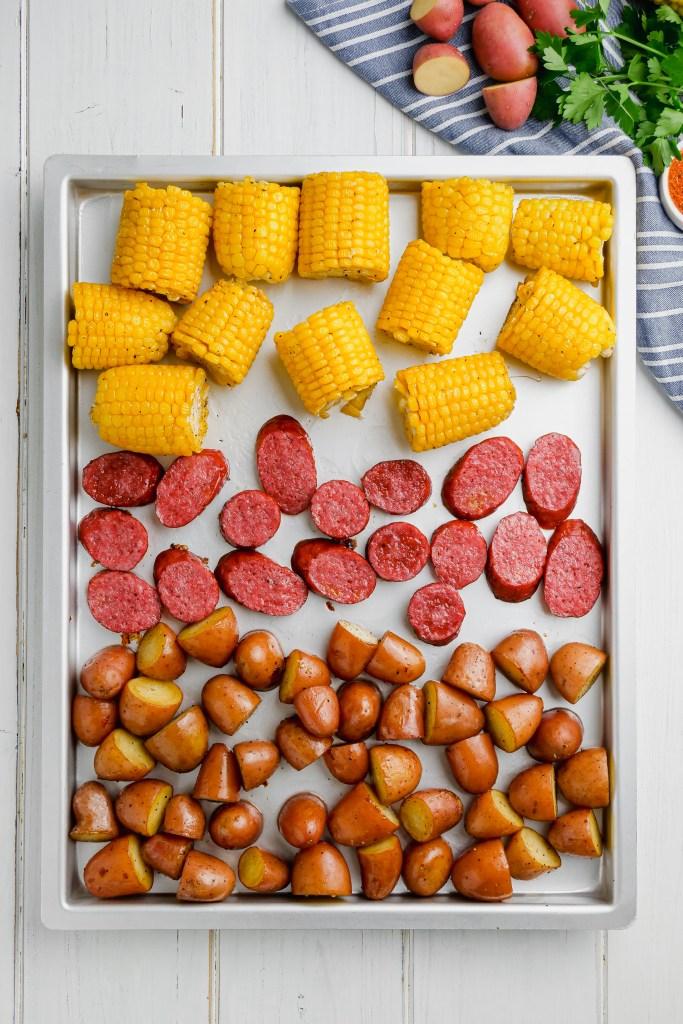 Roasting veggies on a sheet pan.
