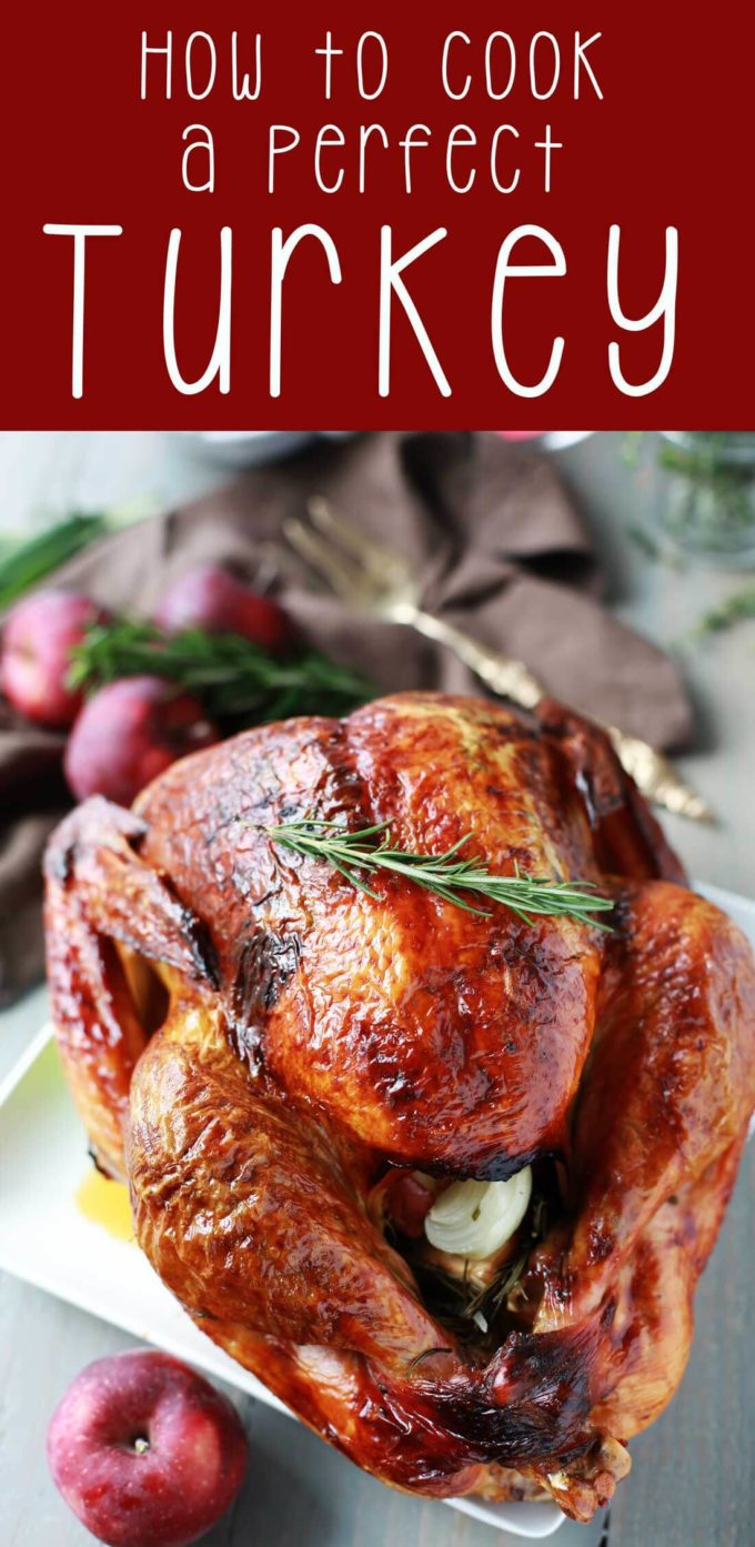 A Perfect crisp juicy turkey on a white plate and a heading of how to cook a perfect turkey