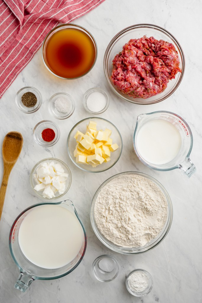 All the ingredients needed to make biscuits and gravy