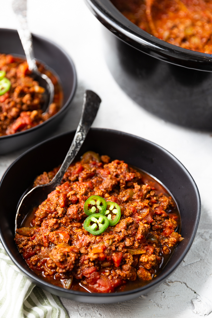 Crock pot keto chili