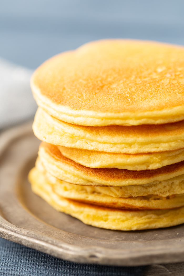 Keto pancake, a stack of keto pancakes, low carb and delicious.
