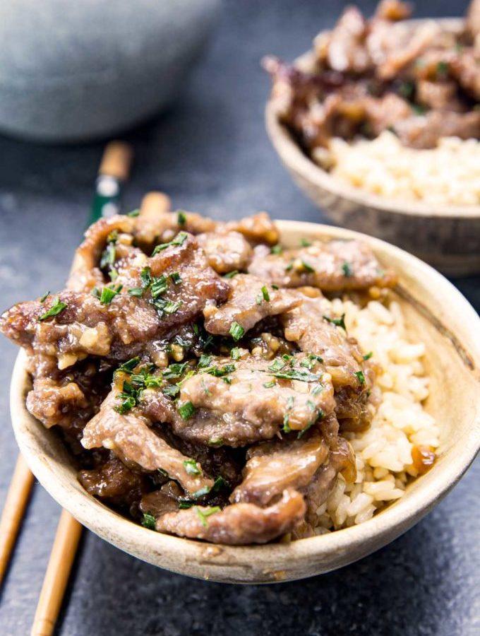 Easy Mongolian Beef is flavorful, crispy beef