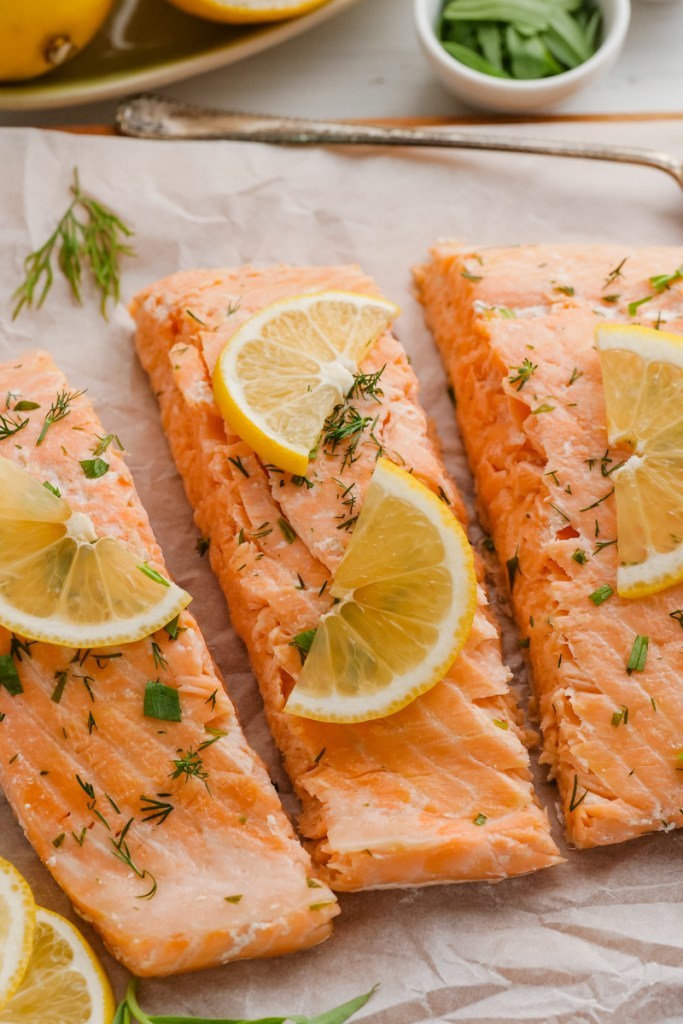 Oven poached salmon with lemon and dill