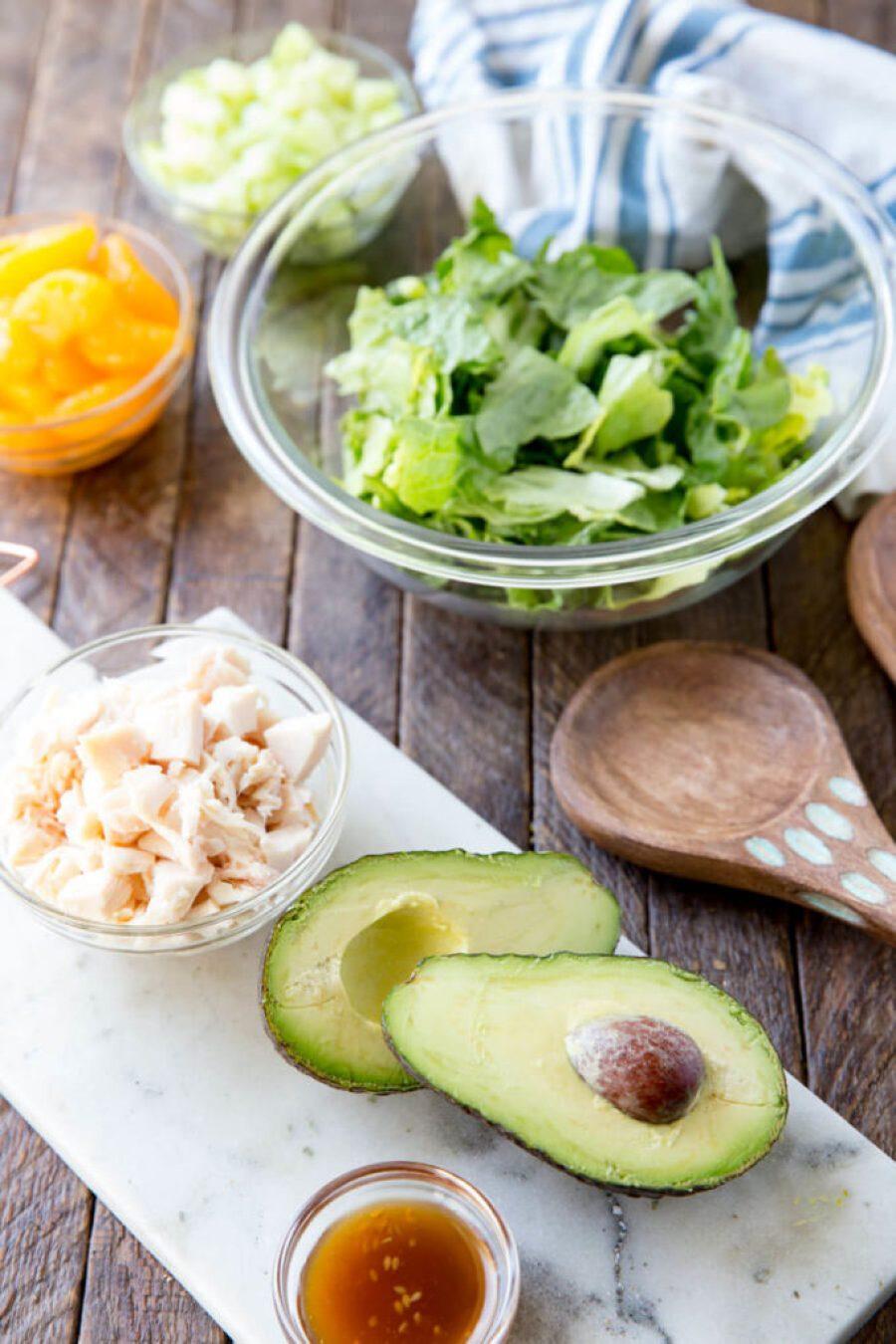Avocado sesame ginger chicken salad
