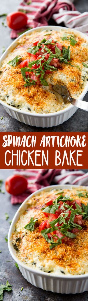 Easy Spinach Artichoke Chicken Bake, a creamy, flavorful chicken dish that will please a crowd.