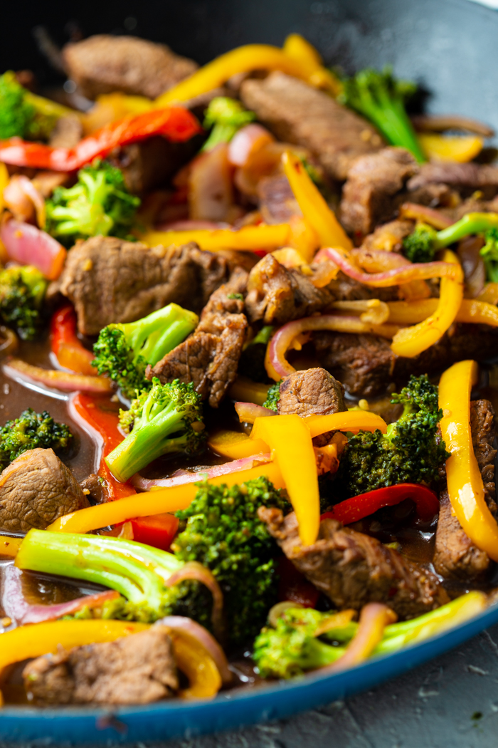 close up showing only the steak stir fry