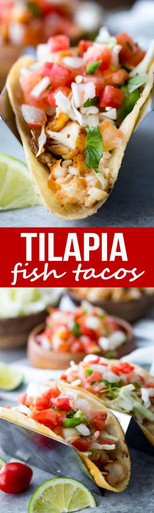 Tilapia Fish Tacos; Easy, flavorful, tilapia fish tacos with pan fried tilapia, pico and more