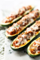 Zucchini boats stuffed with beef and tomato sauce.