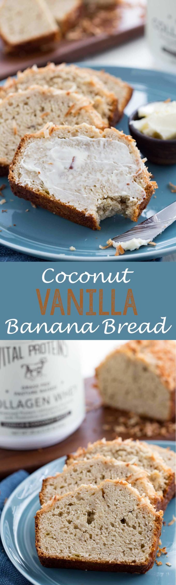 Coconut Vanilla banana bread is a moist and tender bread with crunchy coconut and is packed with protein.