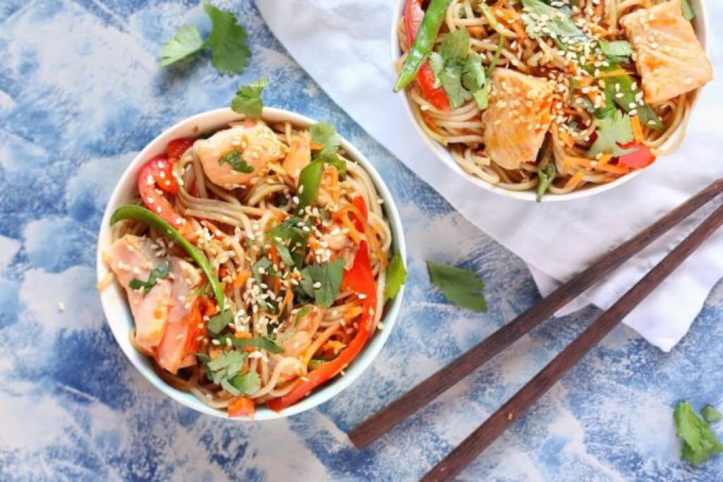 quick and easy salmon soba noodles a great seafood dinner