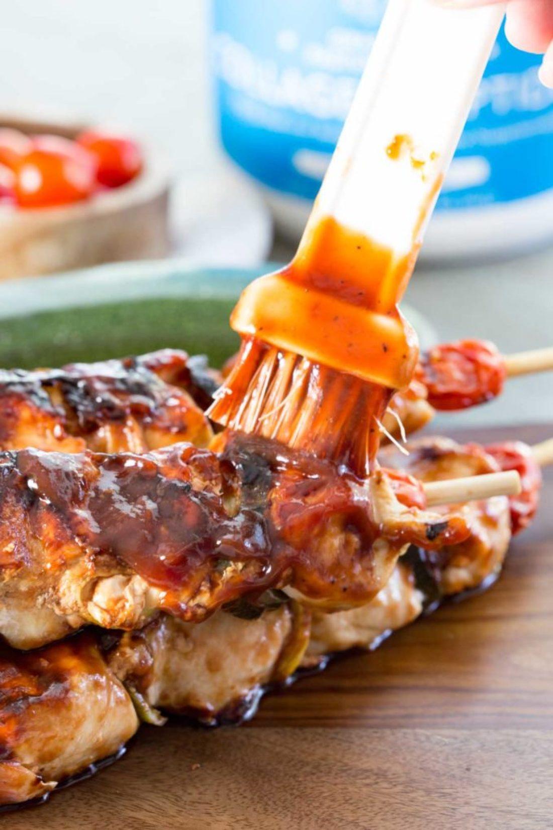 protein bbq sauce chicken skewers