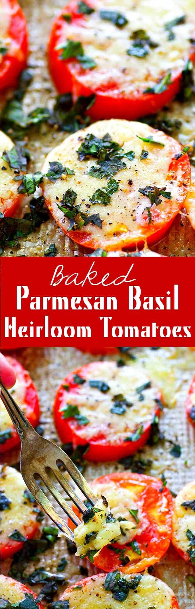 Basked Parmesan Basil Heirloom Tomatoes