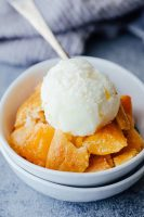 Classic peach cobbler, using bisquick!