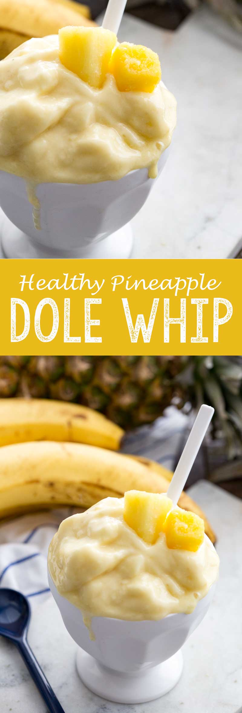 Healthy Pineapple Dole Whip made from all fruit, juice, and more! Added protein makes it a great healthy snack idea.